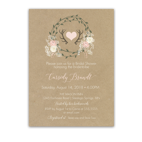 Floral Antlers Wreath Kraft Bridal Shower Invitations