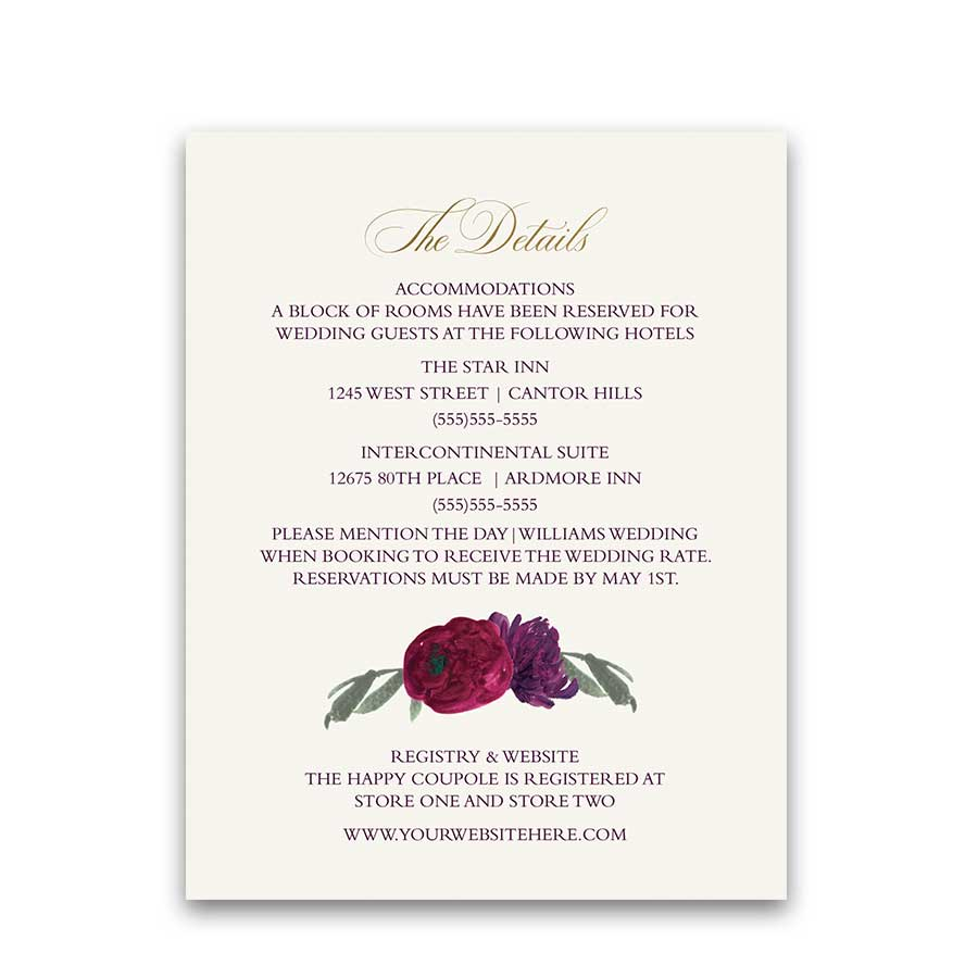 Floral Wedding Cards Blush Sangria Plum Greenery