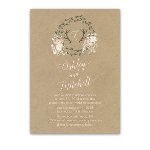 Kraft Wedding Reception Only Invite Boho Floral Wreath