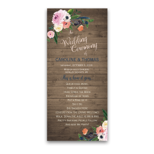Floral Watercolor Rustic Barn Wood Wedding Program