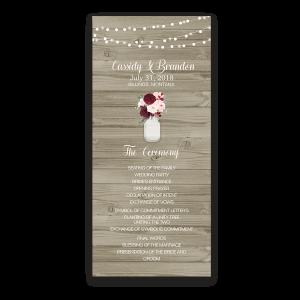 Mason Jar Rustic Barn Wood Floral Wedding Program