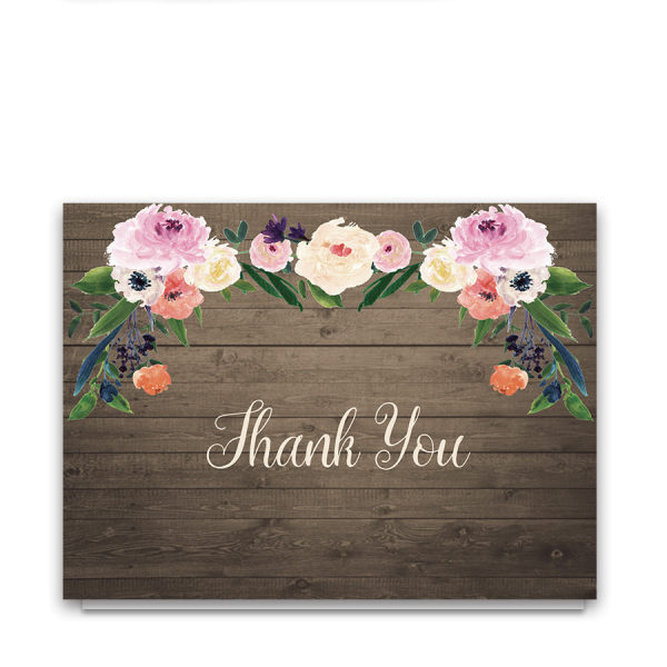 Watercolor Flowers Rustic Wedding Thank You Cards