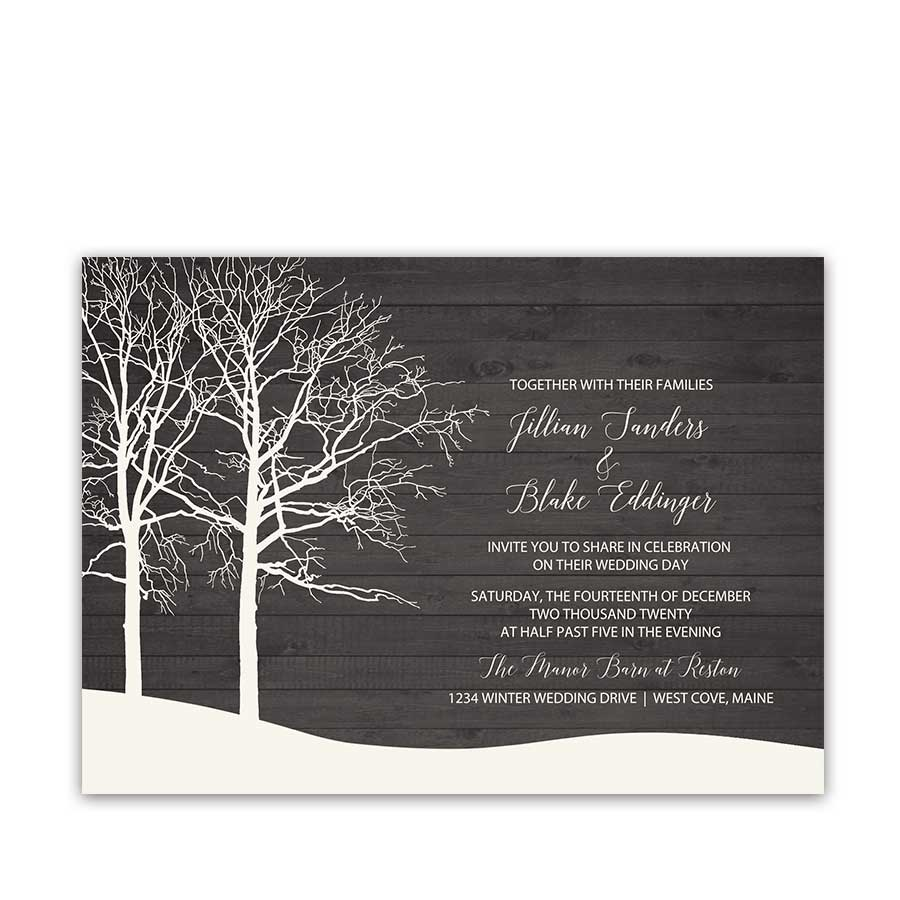 Forest Winter Wedding Invitations Trees on Barn Wood in Snow