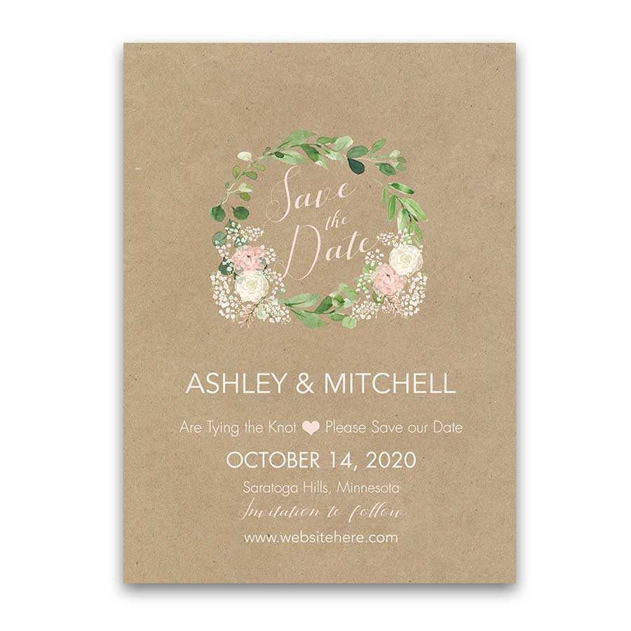 Greenery Wreath Wedding Save the Date Card Blush Florals