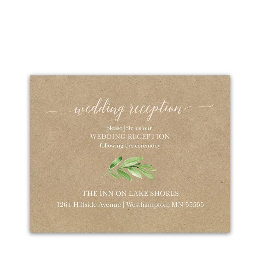 Wedding Reception Insert Card Greenery Wreath