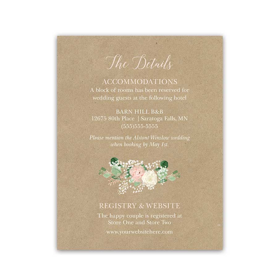 Greenery Wedding Guest Additional Information Insert Card Kraft