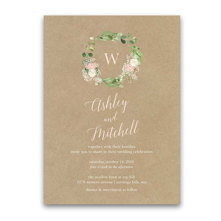 Greenery Wreath Wedding Invitation with Blush Cream Florals