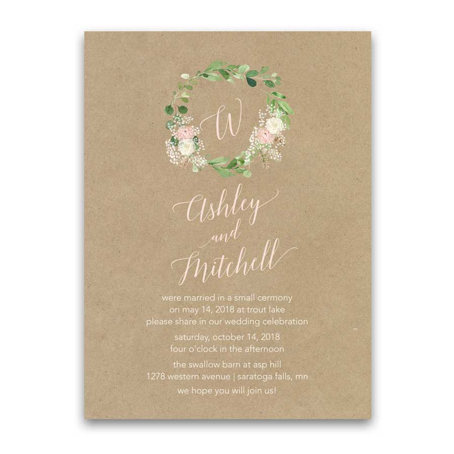 Greenery Wedding Reception Only Invitation Bohemian Floral Blush