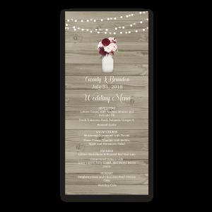 Rustic Mason Jar Burgundy Floral Custom Wedding Menu