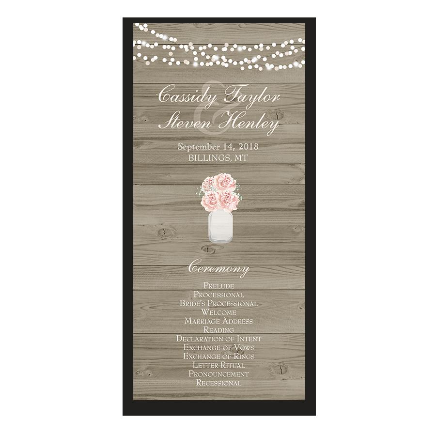 Rustic Mason Jar Peony Wedding Ceremony Program