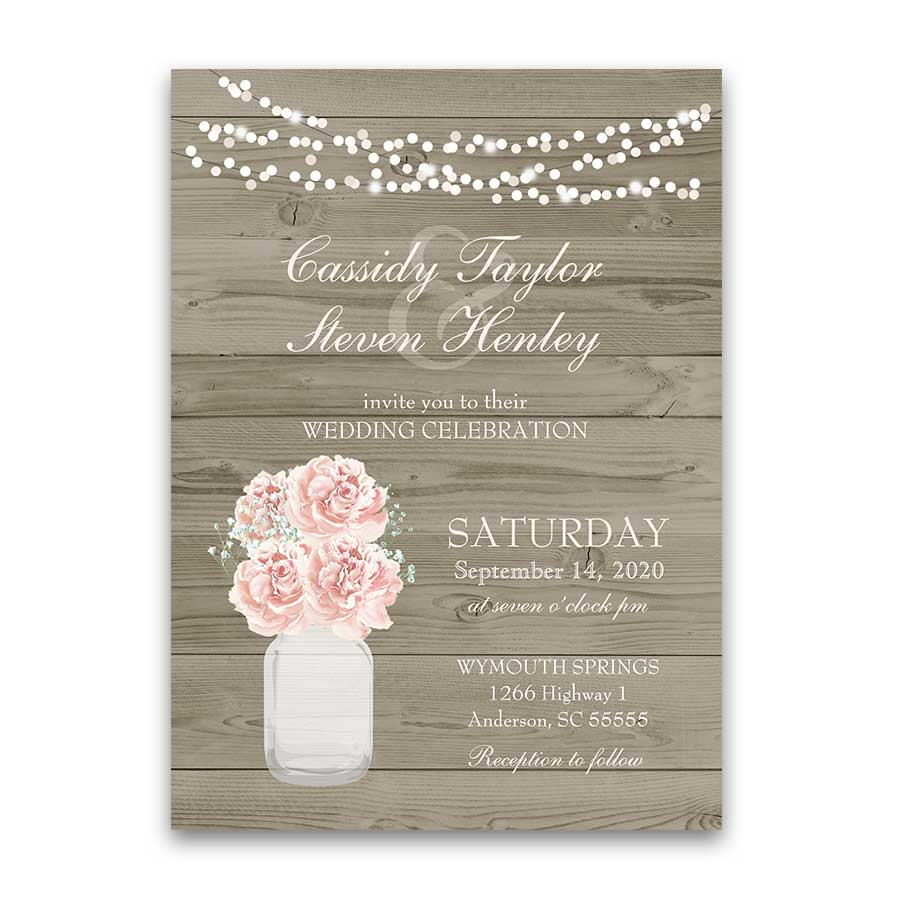 Blush Wedding Invitation Country Mason Jar Barn Wood