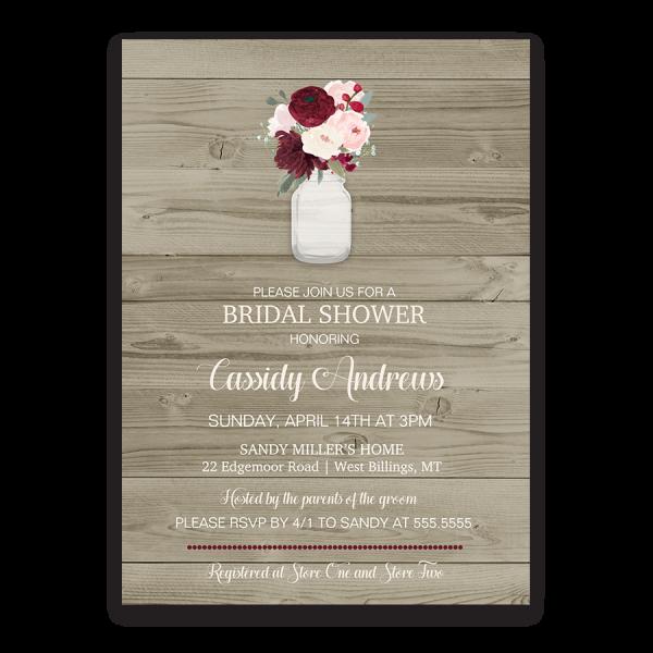 Rustic Mason Jar Floral Wedding Invitations Burgundy: Rustic Mason Jar Burgundy Wine Bridal Shower Invite