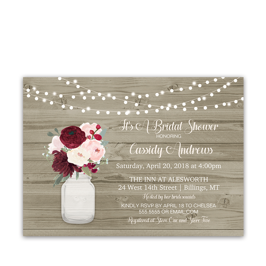 preferred rustic mason jar burgundy bridal shower invitations lm29