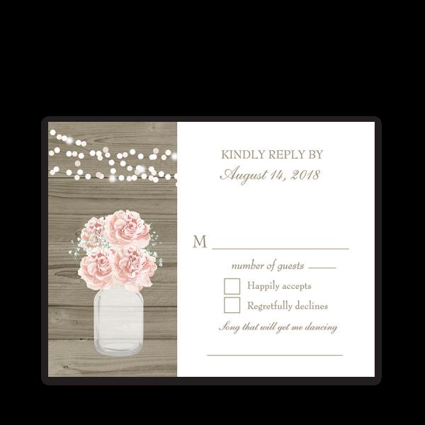 Rustic Mason Jar Blush Floral Wedding RSVP Cards