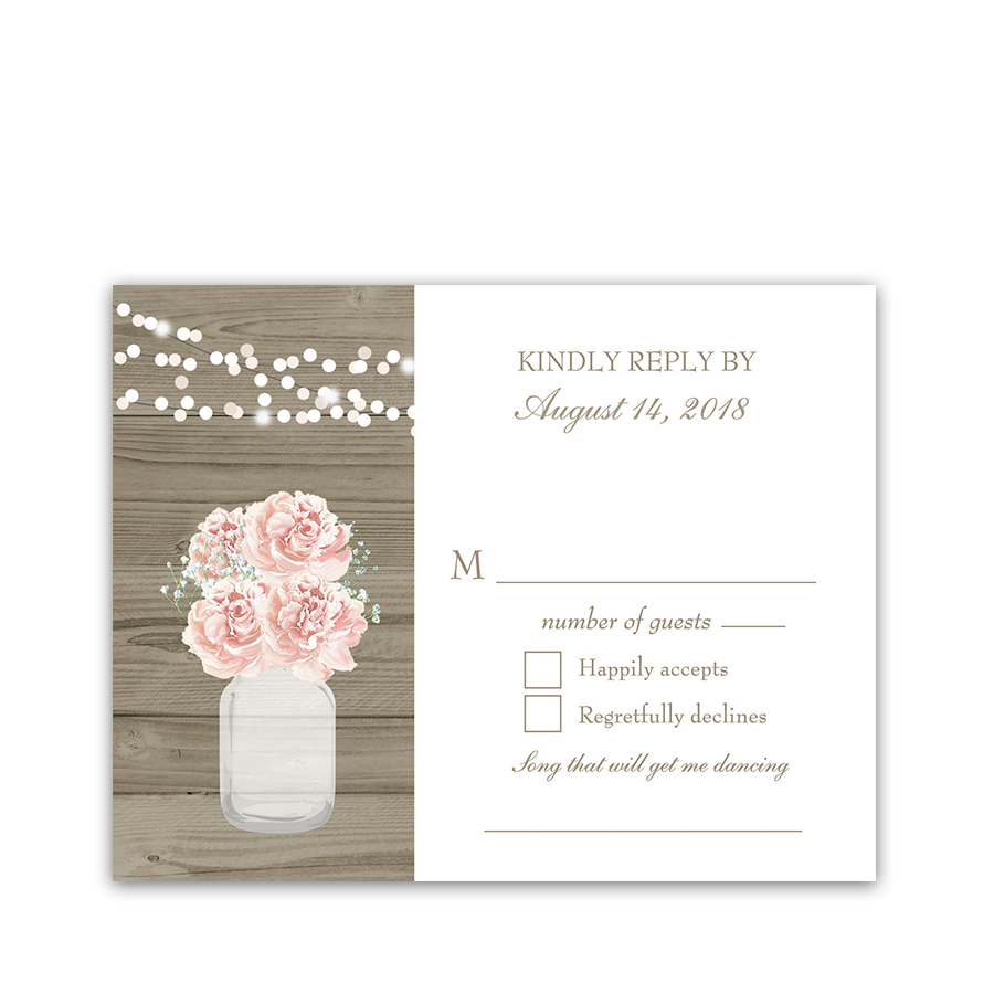 Rustic Mason Jar Blush Floral Wedding RSVP Cards