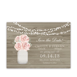 Rustic Blush Floral Mason Jar Country Save the Date