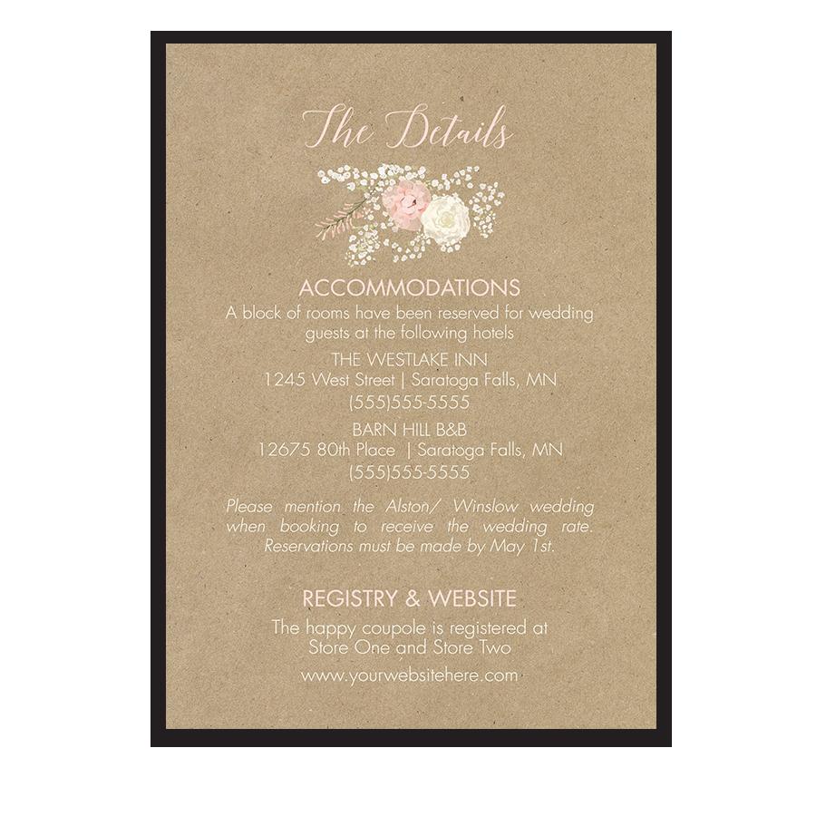 Kraft Wedding Guest Additional Information Insert Card