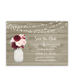 Rustic Wedding Save the Dates Mason Jar Flowers