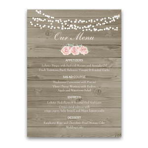 Rustic Barn Wood Blush Floral Wedding Menu