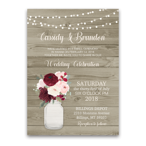 rustic wedding reception only invitation mason jar - Wedding Reception Only Invitations