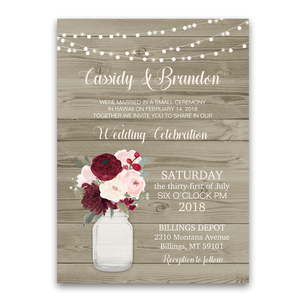 Wedding Reception Only Invitations: Rustic Wedding Reception Only Invitation Mason Jar