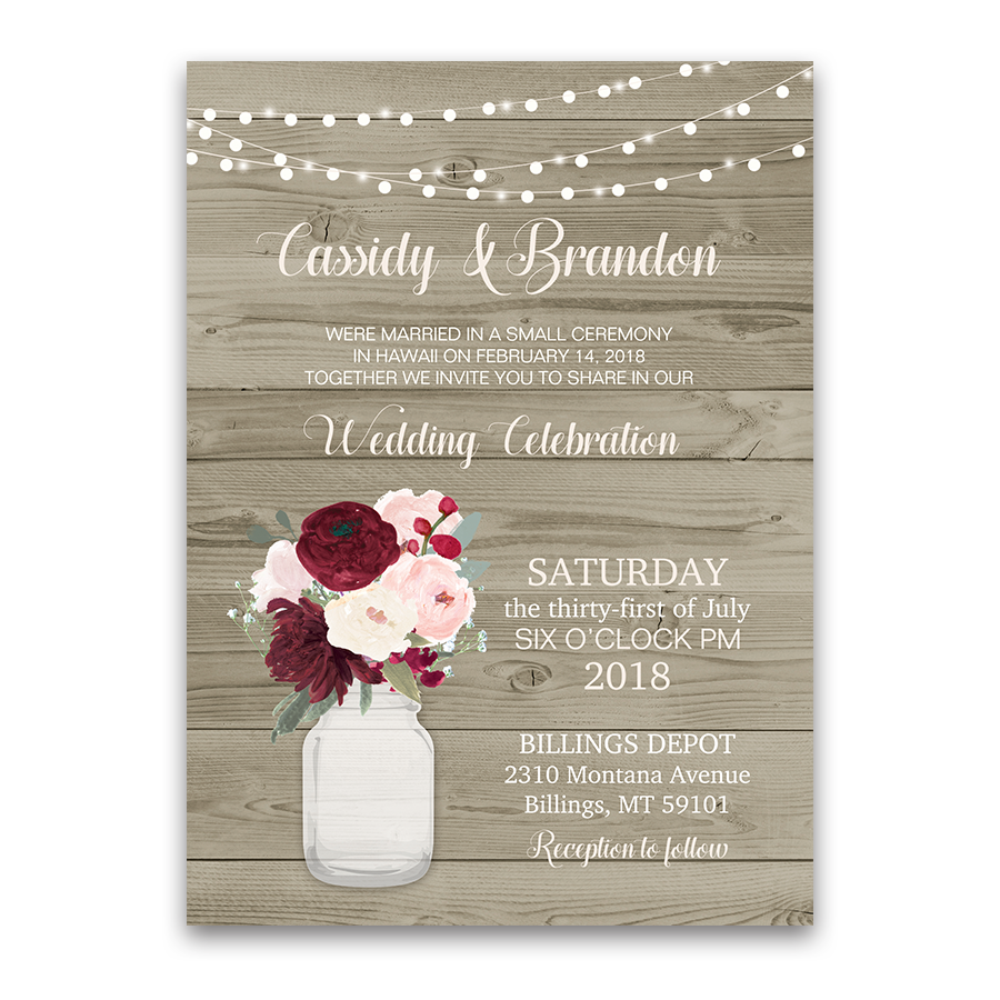 Rustic Wedding Reception Only Invitation Mason Jar
