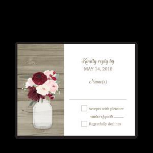Rustic Mason Jar Burgundy Floral Wedding RSVP Cards