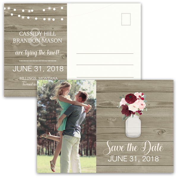 Rustic Postcard Save the Dates Mason Jar with Flowers