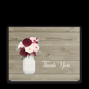 Rustic Mason Jar Burgundy Floral Thank You Cards