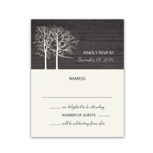 Rustic Barn Wood Winter Wedding RSVP Reply Card