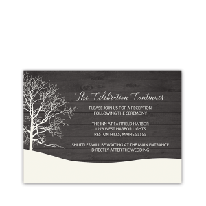 Rustic Tree Winter Wedding Reception Insert Card