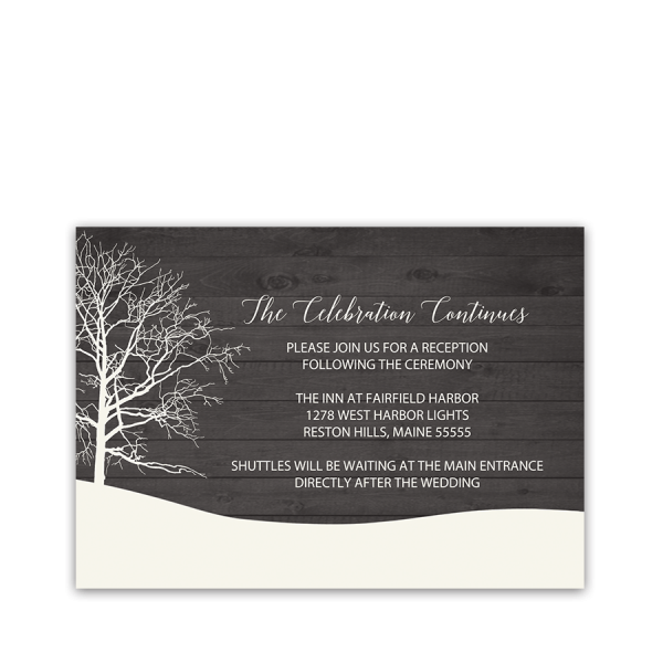 Rustic Tree Winter Wedding Reception Insert Card