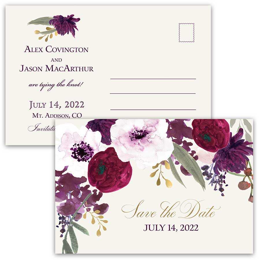 Save the Date Sangria Purple and Gold Wedding Postcards