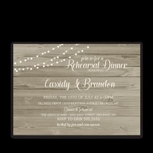 Rustic Wood String Lights Wedding Rehearsal Invitation