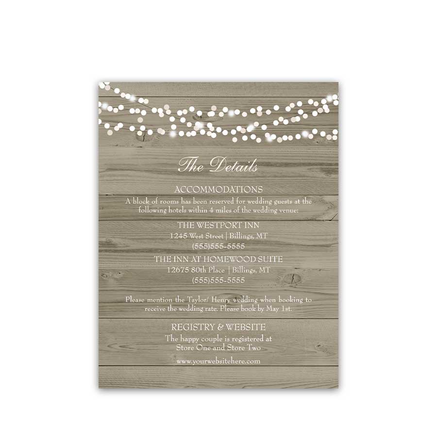 Rustic Hotel Accommodation Insert Cards