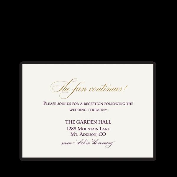 Burgundy Gold Script Boho Wedding Reception Card