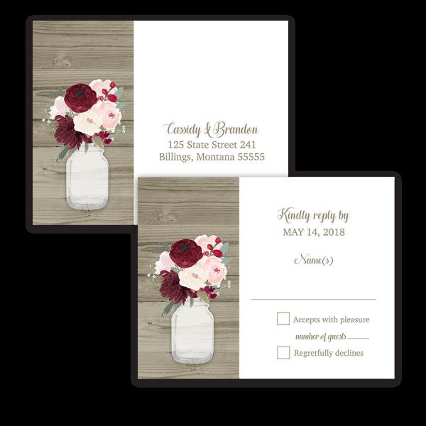 Rustic Mason Jar Burgundy Floral Wedding RSVP Postcard
