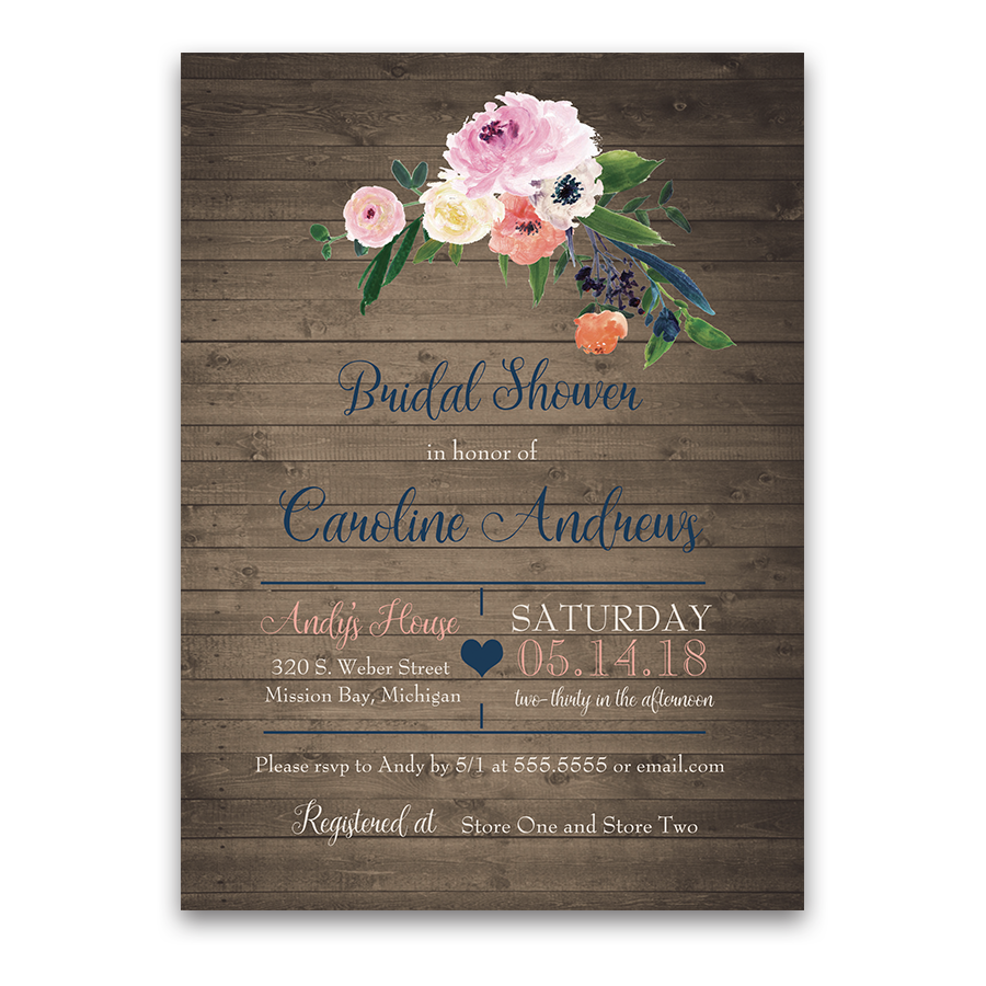 Floral bridal shower invitation watercolor wildflowers filmwisefo Images
