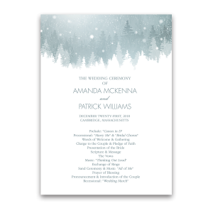 Winter Wonderland Snowflake Wedding Ceremony Program