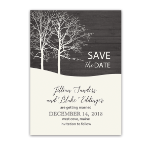 Rustic Barn Wood Winter Wedding Save the Date Card