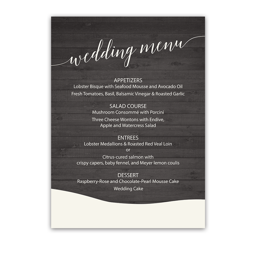 Custom Rustic Winter Barn Country Wedding Menu