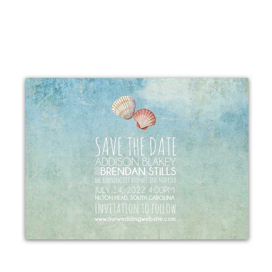 Beach Wedding Save the Date Card with Watercolor Shells