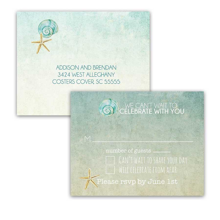 Starfish Seashell Watercolor Beach Wedding RSVP Postcard