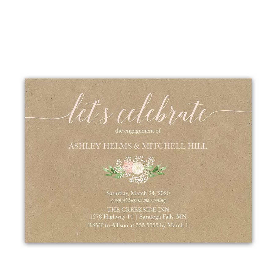 Rustic Country Engagement Party Invitation Blush Floral Greenery