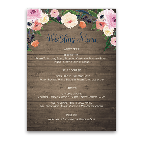 Watercolor floral rustic custom wedding menu stopboris Choice Image