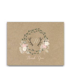 Boho Chic Kraft Wedding Thank You Cards Deer Antlers