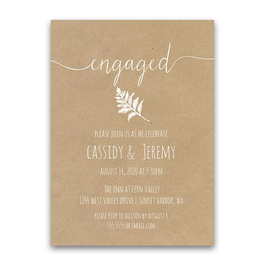 Rustic Kraft Paper Engagement Party Invitation Fern