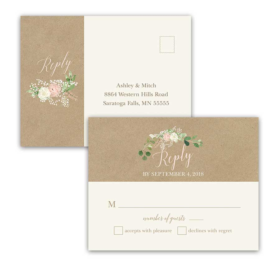 Kraft Wedding RSVP Postcard Bohemian Greenery Floral Wreath