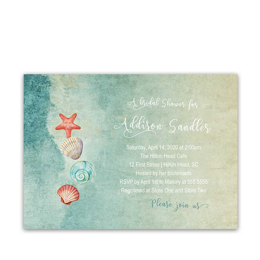 Beach Bridal Shower Invitation Seashell Starfish Ocean Theme