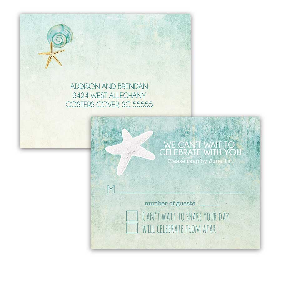 Destination Beach Wedding Watercolor Modern RSVP Postcard